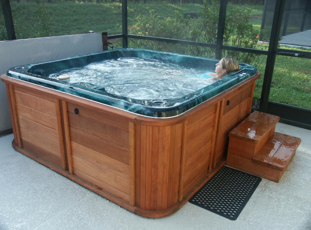 woman enjoying hot tub